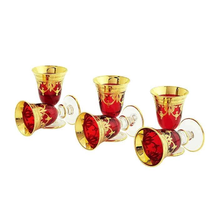DINASTIA ROSSO Рюмка, набор 6 шт, хрусталь красный/декор золото 24К