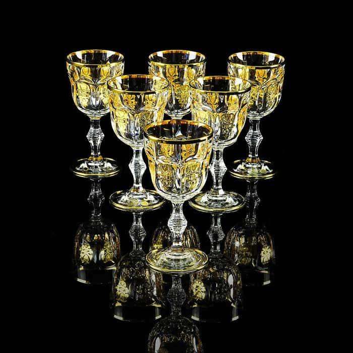 GLORIA Бокал для вина/воды, набор 6 шт, хрусталь/декор золото 24К