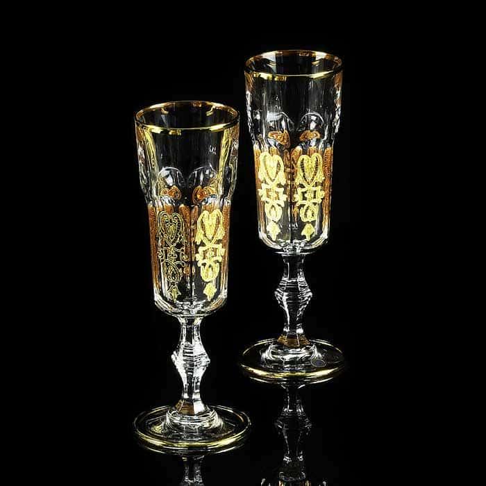 GLORIA Бокал для шампанского, набор 2 шт, хрусталь/декор золото 24К