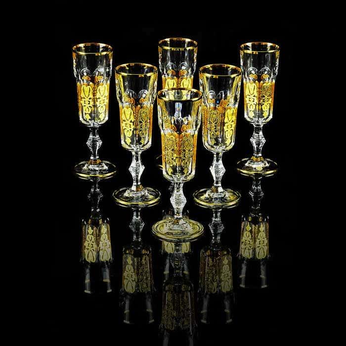 GLORIA Бокал для шампанского, набор 6 шт, хрусталь/декор золото 24К