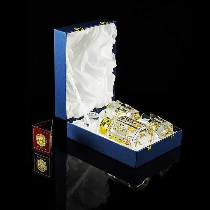 GLORIA Комплект для виски: графин + 2 стакана, хрусталь/декор золото 24К