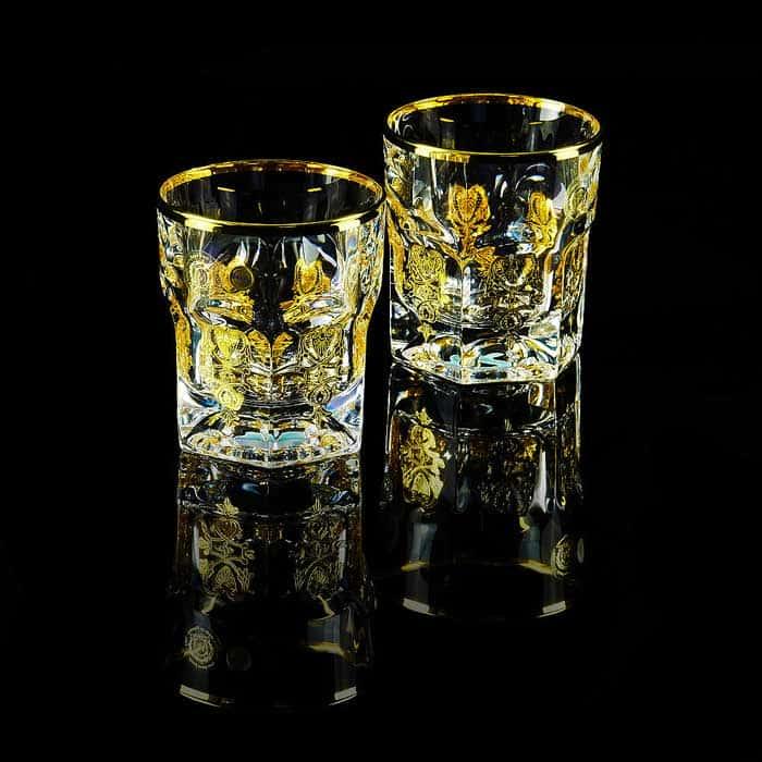 GLORIA Стакан для виски 300 мл, набор 2 шт, хрусталь/декор золото 24К
