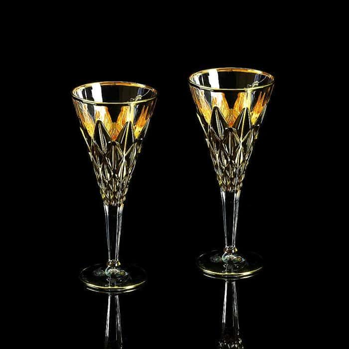 GOLDEN DREAM Бокал для вина/воды, набор 2 шт, хрусталь/золото 24К