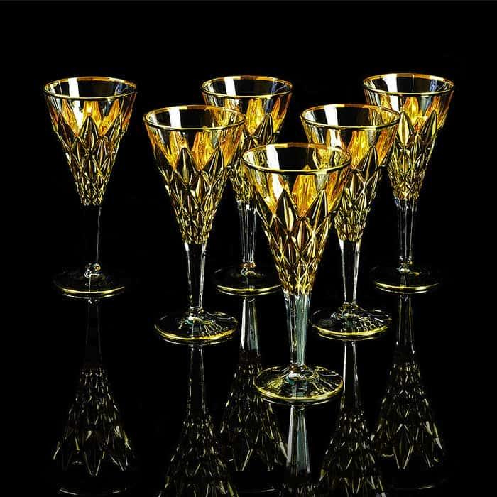 GOLDEN DREAM Бокал для вина/воды, набор 6 шт, хрусталь/золото 24К