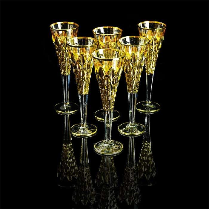 GOLDEN DREAM Бокал для шампанского, набор 6 шт, хрусталь/золото 24К