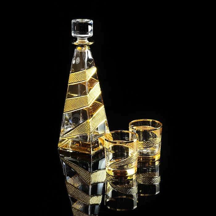 IDALGO Комплект для виски: графин + 2 стакана, хрусталь янтарный