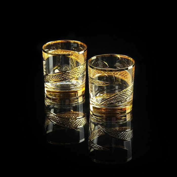 IDALGO Стакан 300 мл для виски, набор 2 шт, хрусталь янтарный