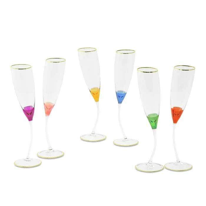 INIGMA Бокал для шампанского, набор 6 шт, хрусталь разноцветный/декор золото 24К