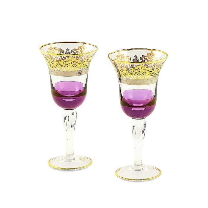 LUCIANA Бокал для вина/воды, набор 2 шт, хрусталь фиолетовый/декор золото 24К