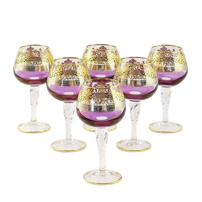 LUCIANA Бокал для коньяка, набор 6 шт, хрусталь фиолетовый/декор золото 24К