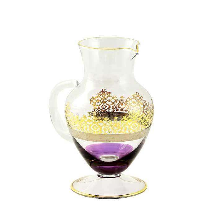 LUCIANA Кувшин 1 л. H23 см, хрусталь фиолетовый/декор золото 24К