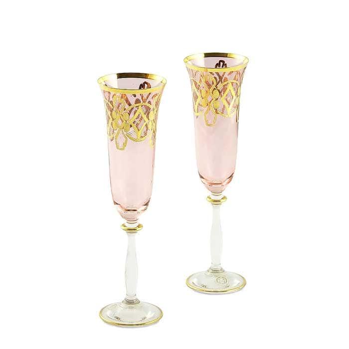 VENEZIA Бокал для шампанского, набор 2 шт, хрусталь розовый/декор золото 24К
