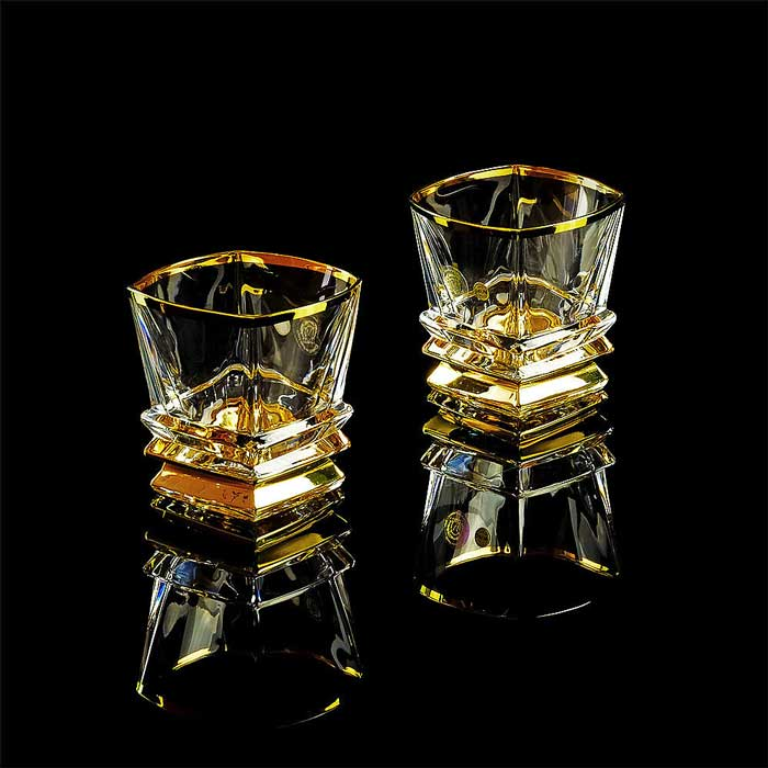 VIKONT Стакан 300 мл для виски, набор 2 шт, хрусталь/декор золото 24К