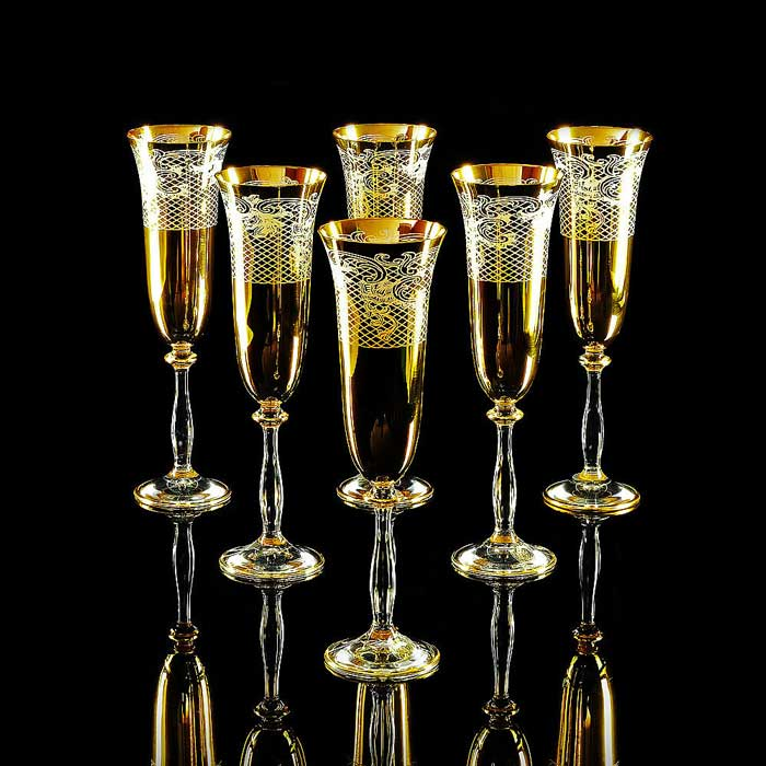VITTORIA Бокал для шампанского, набор 6 шт, хрусталь/декор золото 24К