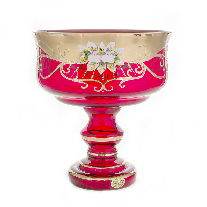 Лепка красная 6888 Ваза для фруктов на ножке 24 см U. Glass