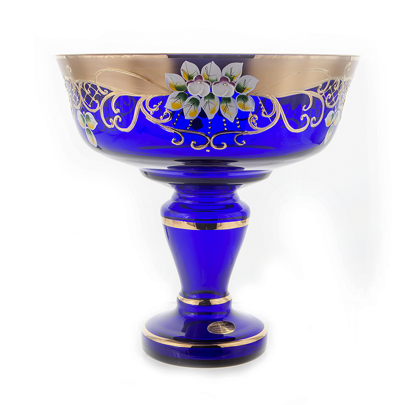 Лепка синяя 6444 Ваза для фруктов на ножке U. Glass 28 см