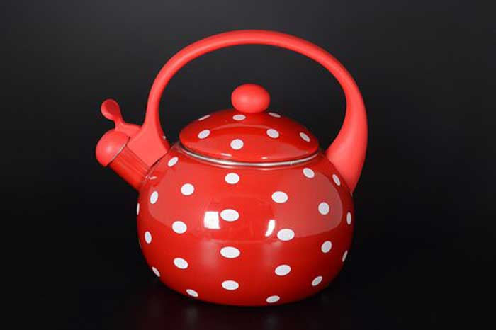 WELLBERG красный Чайник эмалированный