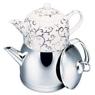 Чайная пара Spring Tea: чайник из нержавеющей стали 2000 мл, заварник из фарфора 1000 мл