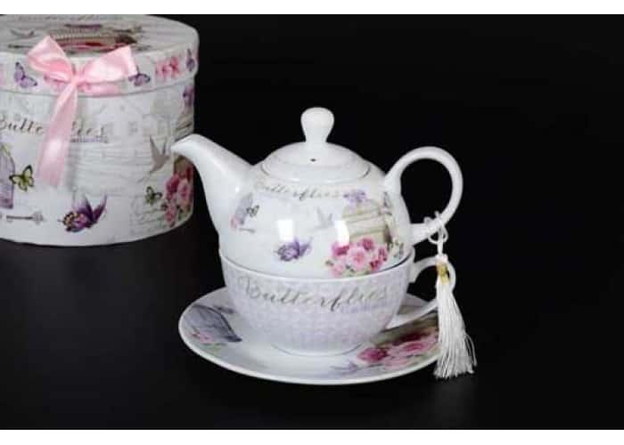 Butterflies Gardening Чашка с блюдцем и чайник в подарочной упаковке