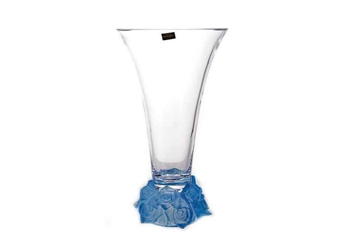 Фрост Розы голубой Ваза для цветов Crystalite 35,5 cм