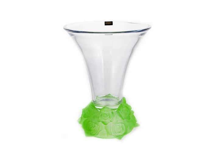 Фрост Розы Зеленый Ваза для цветов Crystalite 25,5 cм