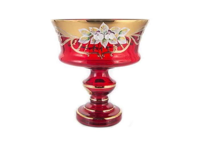 Лепка красная 6999 Ваза для конфет U. Glass 17 см на ножке