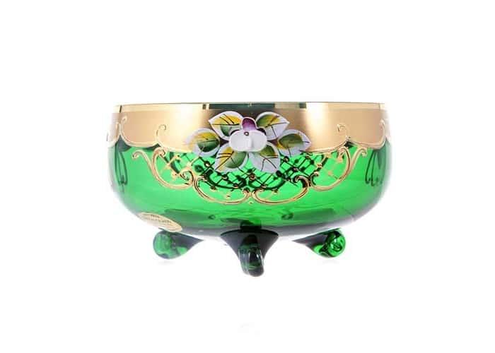 Лепка зеленая 5408 Ваза для варенья U. Glass 15 см.на 3х ножках