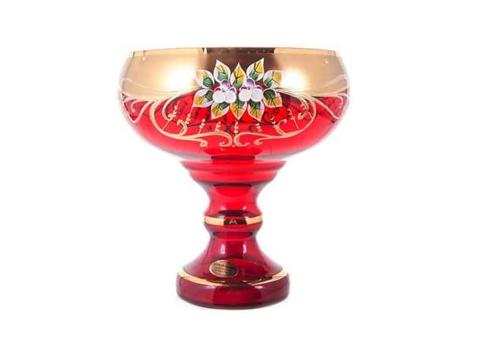Лепка красная 9823 Ваза для конфет U. Glass 24 см на ножке