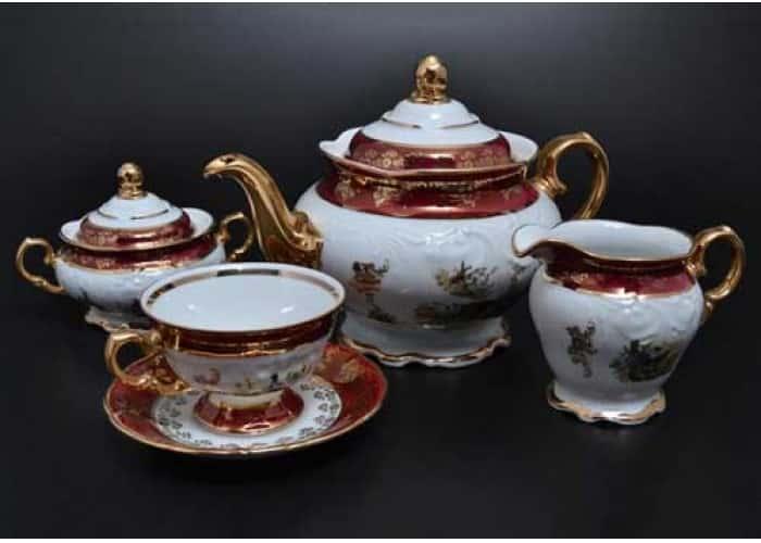 Фредерика Охота Красная Чайный сервиз Carlsbad на 6 персон 17 предметов Фредерика