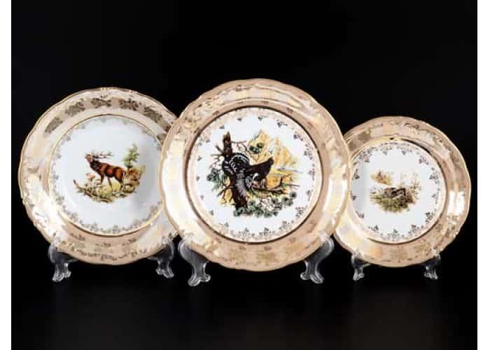 Фредерика Охота бежевая Набор тарелок Moravec 18 предметов
