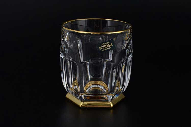 Сафари Золотой ободок Набор стаканов для виски 250 мл Crystalite
