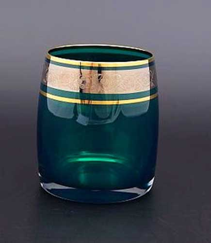 Идеал платина зеленый Набор стаканов для виски Bohemia Crystal 290 мл (6 шт)