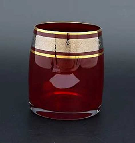 Идеал платина красный Набор стаканов для виски Bohemia Crystal 290 мл (6 шт)