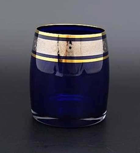 Идеал платина синий Набор стаканов для виски Bohemia Crystal 290 мл (6 шт)