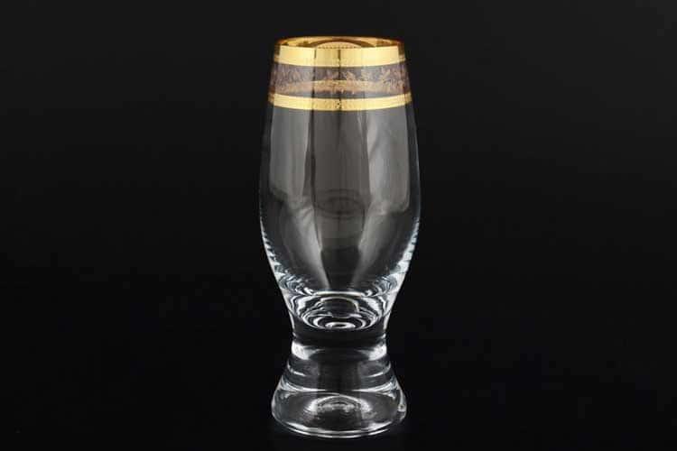 Джина Золотой узор Набор стаканов для воды 210 мл (6 шт) Bohemia Crystal