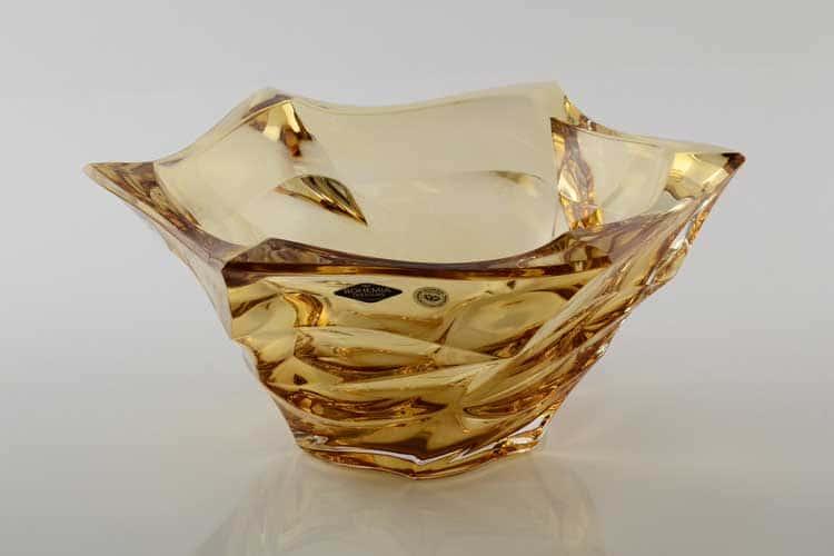 Фламенко желтая Ваза для фруктов Bohemia Treasury 39,5 см