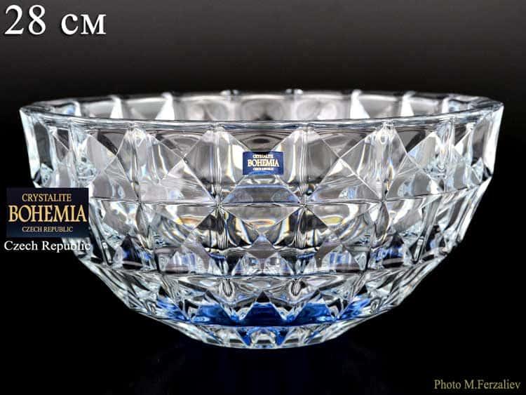 DIAMOND синий Ваза для фруктов Crystalite Bohemia 28 см