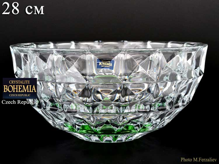 DIAMOND зеленый Ваза для фруктов Crystalite Bohemia 28 см