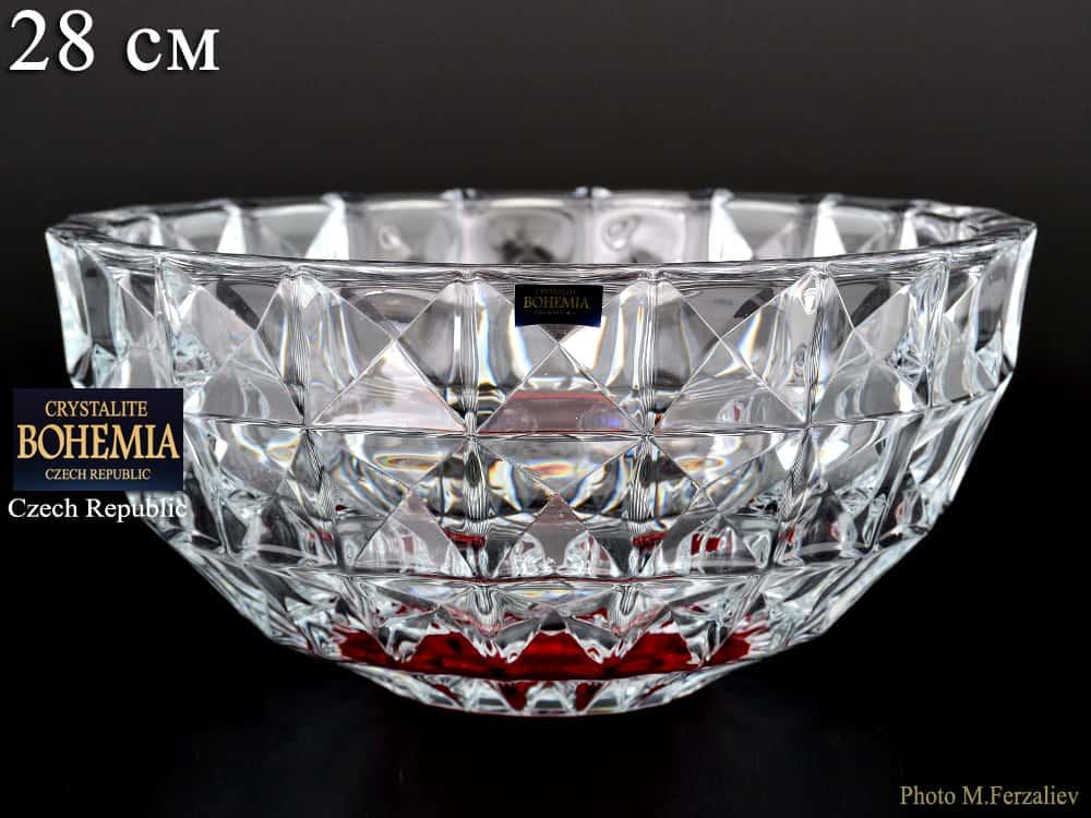 DIAMOND красный Ваза для фруктов Crystalite Bohemia 28 см