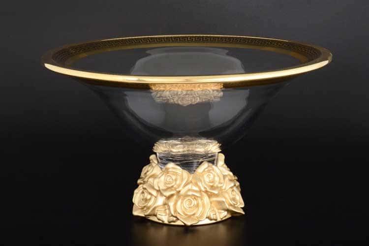 Фрост Розы золотые Ваза для фруктов 35,5 cм