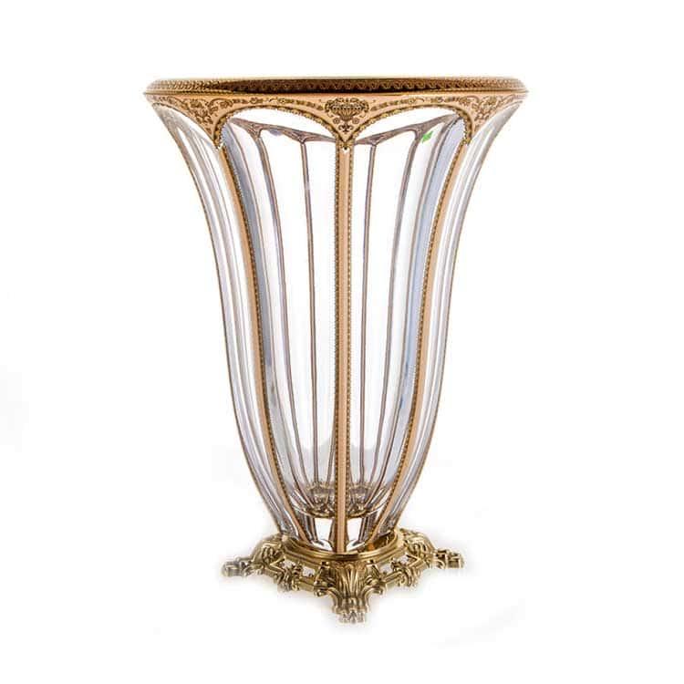 Панел империя бежевая Ваза для цветов Astra Gold 33 см. ажурная ножка
