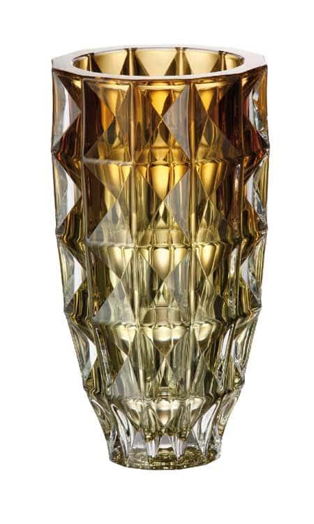 Диамонд желтая Ваза для цветов Crystalite Bohemia 28 см