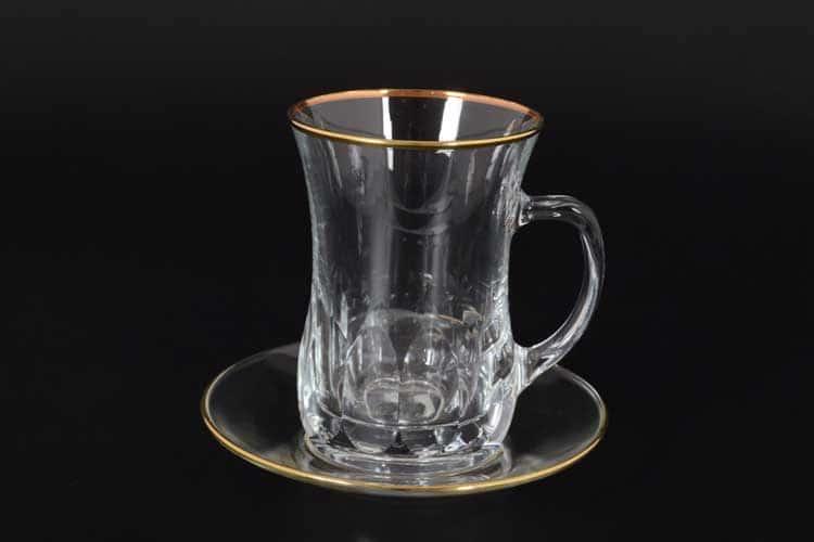 Золотой ободок Армуда с ручкой Набор для чая 12 пред.
