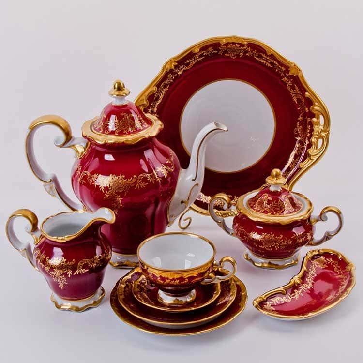 Ювел красный Кофейный сервиз Weimar Porzellan 6 персон