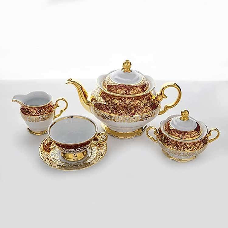 Лист Красный Чайный сервиз Carlsbad на 6 персон 15 предметов