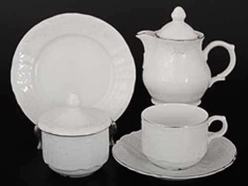 Бернадотт Платиновый узор 2021 Чайный сервиз на 6 персон 22 предмет