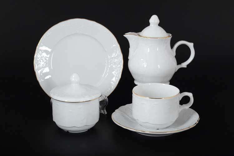 Бернадотт Белый узор Чайный сервиз на 6 персон 22 предметов
