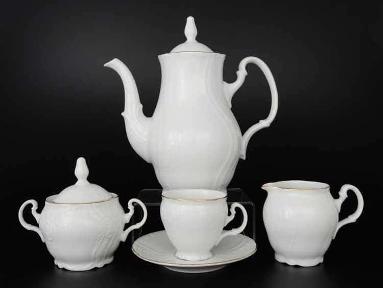 Бернадотт Белый узор 11011 Кофейный сервиз на 6 персон 17 предметов