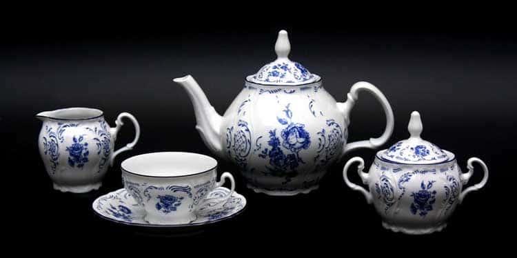 Бернадотт Синие розы 24074 Чайный сервиз 200 мл на 6 персон 15 предметов