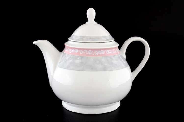Яна Серый мрамор с розовым кантом Чайник 1,2 л Thun